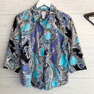 Chico's Paisley Button Up Blouse
